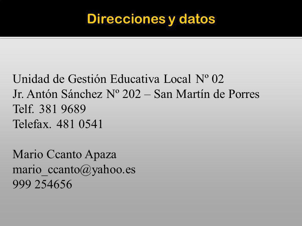 Direcciones y datos Unidad de Gestión Educativa Local Nº 02