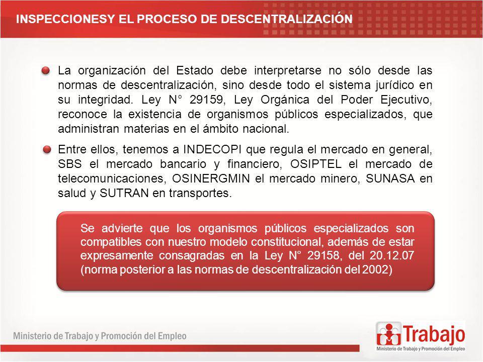 INSPECCIONESY EL PROCESO DE DESCENTRALIZACIÓN