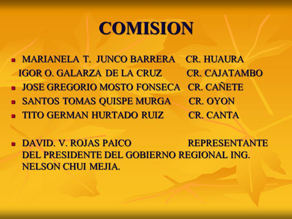 COMISION MARIANELA T. JUNCO BARRERA CR. HUAURA