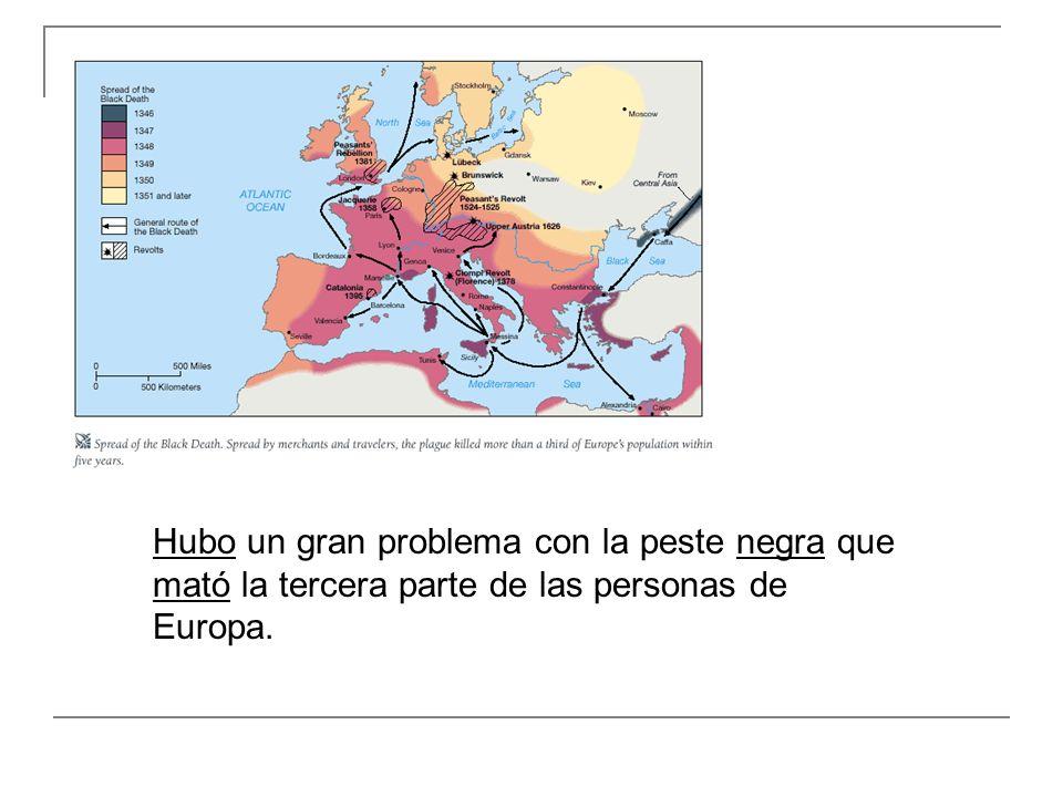 Hubo un gran problema con la peste negra que mató la tercera parte de las personas de Europa.
