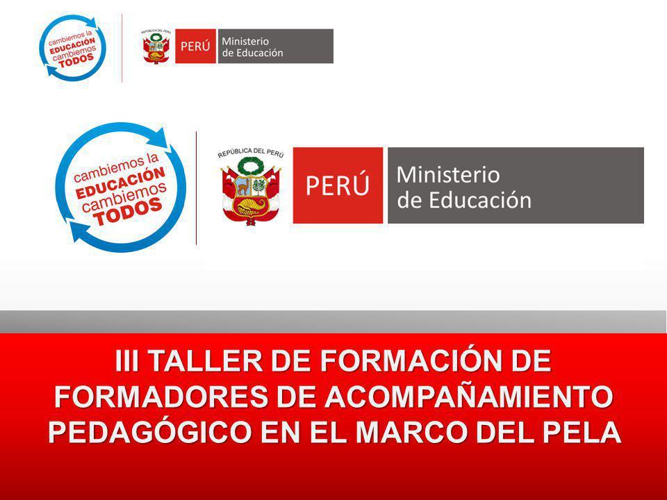 III TALLER DE FORMACIÓN DE FORMADORES DE ACOMPAÑAMIENTO PEDAGÓGICO EN EL MARCO DEL PELA