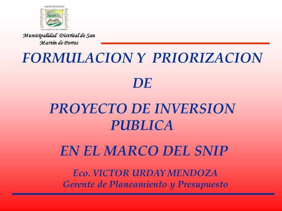 FORMULACION Y PRIORIZACION DE PROYECTO DE INVERSION PUBLICA
