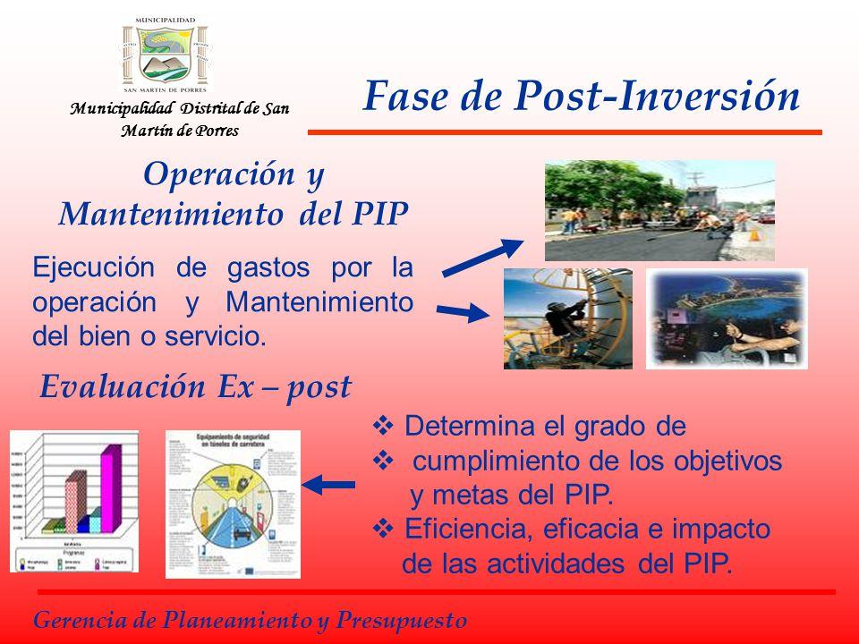 Fase de Post-Inversión Municipalidad Distrital de San Martín de Porres