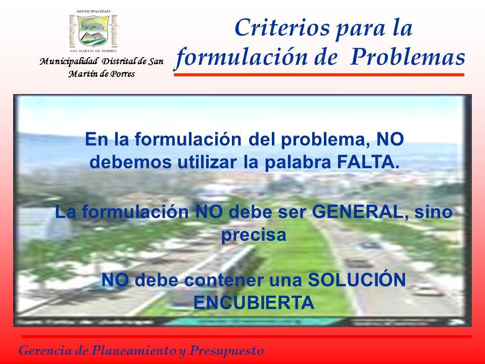 Criterios para la formulación de Problemas