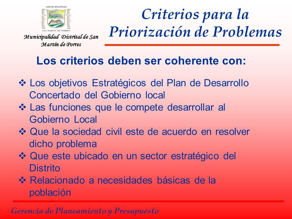 Criterios para la Priorización de Problemas