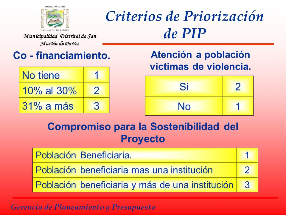 Criterios de Priorización de PIP