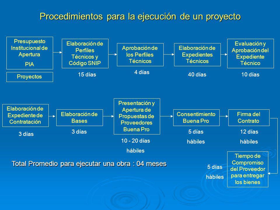 Procedimientos para la ejecución de un proyecto