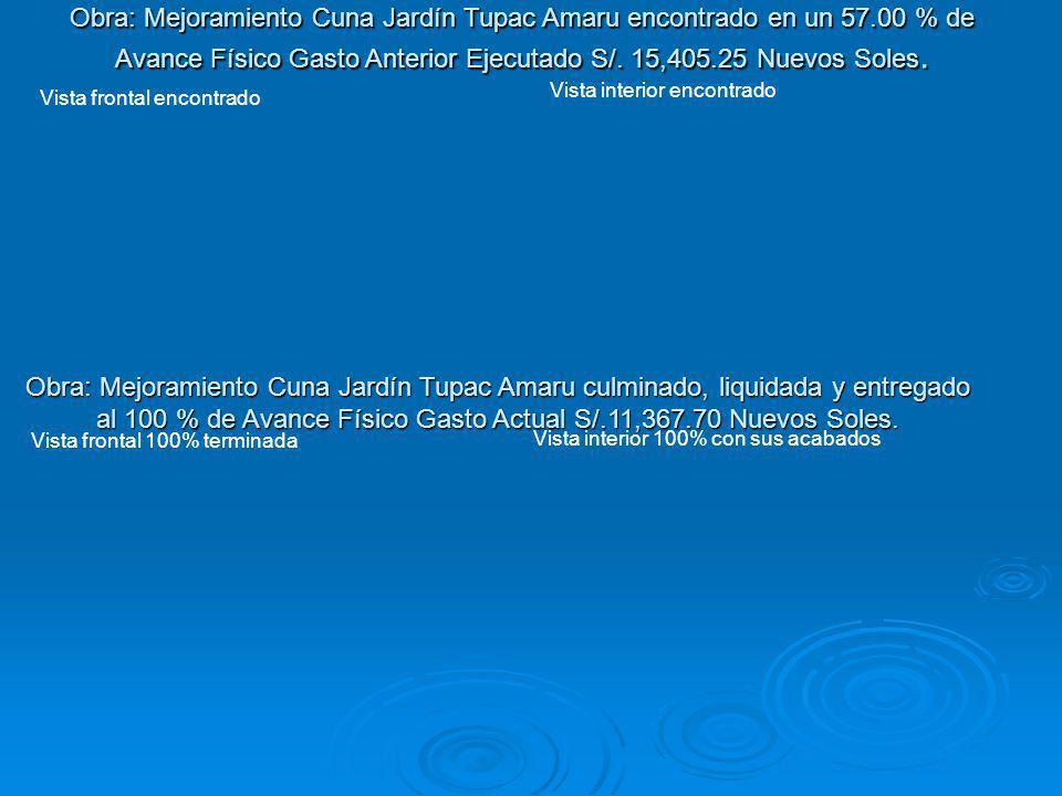 Obra: Mejoramiento Cuna Jardín Tupac Amaru encontrado en un 57