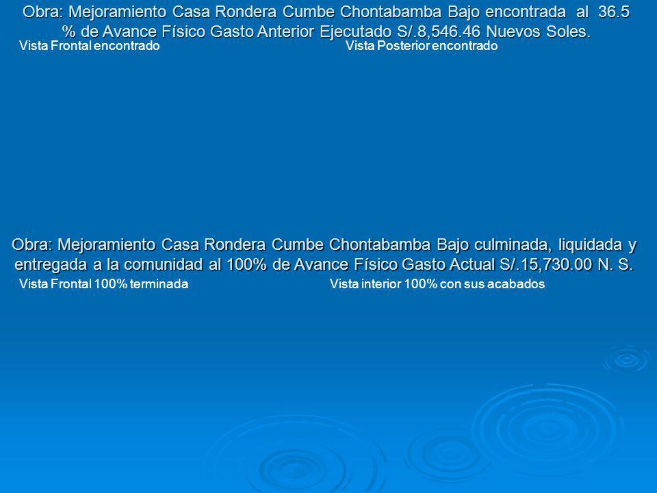 Obra: Mejoramiento Casa Rondera Cumbe Chontabamba Bajo encontrada al 36.5 % de Avance Físico Gasto Anterior Ejecutado S/.8,546.46 Nuevos Soles.