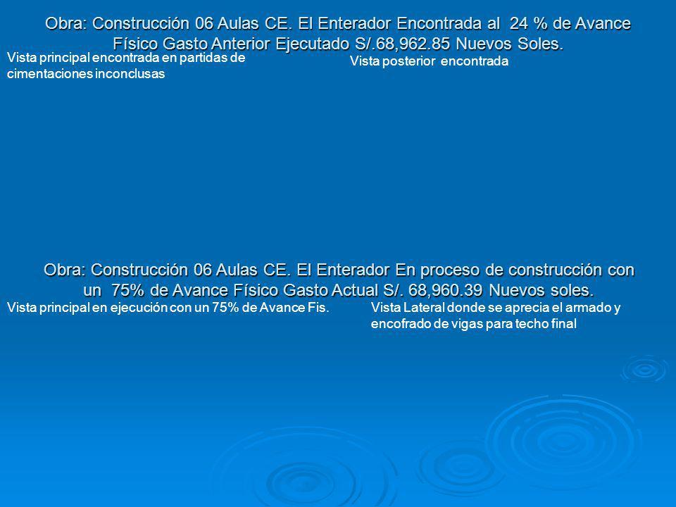 Obra: Construcción 06 Aulas CE
