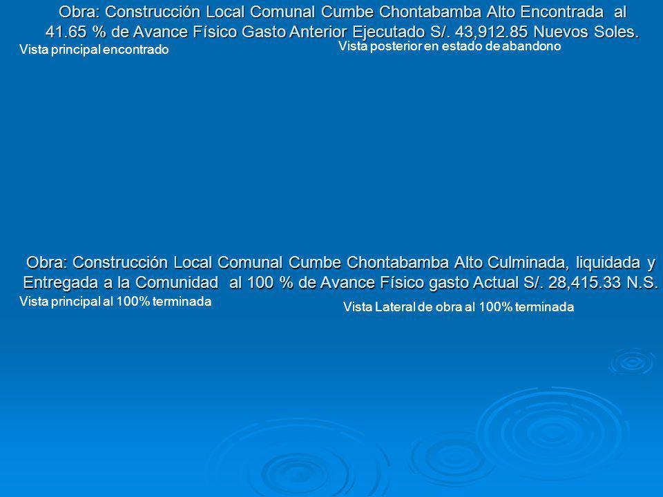 Obra: Construcción Local Comunal Cumbe Chontabamba Alto Encontrada al 41.65 % de Avance Físico Gasto Anterior Ejecutado S/. 43,912.85 Nuevos Soles.