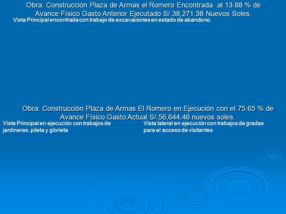 Obra: Construcción Plaza de Armas el Romero Encontrada al 13