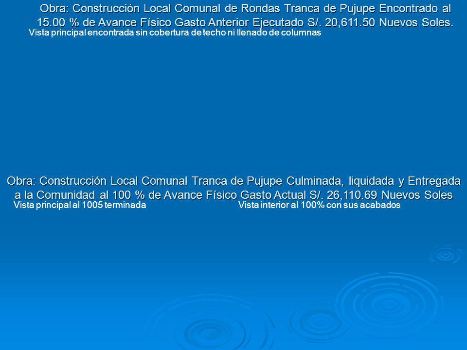 Obra: Construcción Local Comunal de Rondas Tranca de Pujupe Encontrado al 15.00 % de Avance Físico Gasto Anterior Ejecutado S/. 20,611.50 Nuevos Soles.