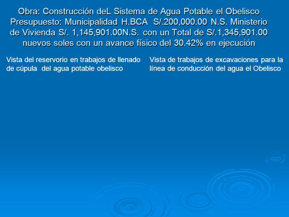 Obra: Construcción deL Sistema de Agua Potable el Obelisco Presupuesto: Municipalidad H.BCA S/.200,000.00 N.S. Ministerio de Vivienda S/. 1,145,901.00N.S. con un Total de S/.1,345,901.00 nuevos soles con un avance físico del 30.42% en ejecución
