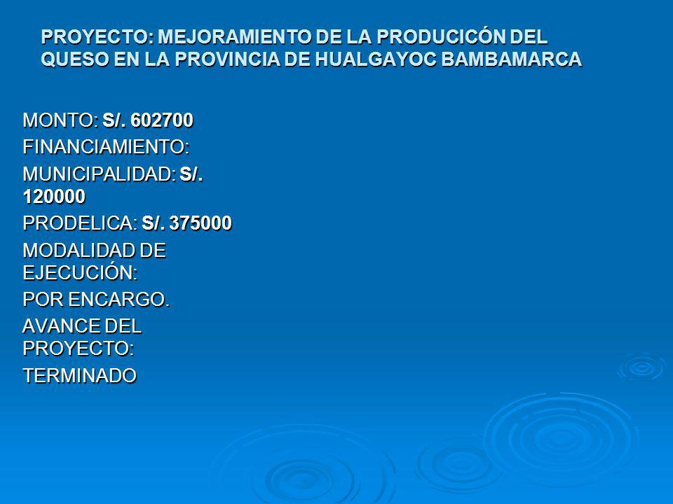 PROYECTO: MEJORAMIENTO DE LA PRODUCICÓN DEL QUESO EN LA PROVINCIA DE HUALGAYOC BAMBAMARCA
