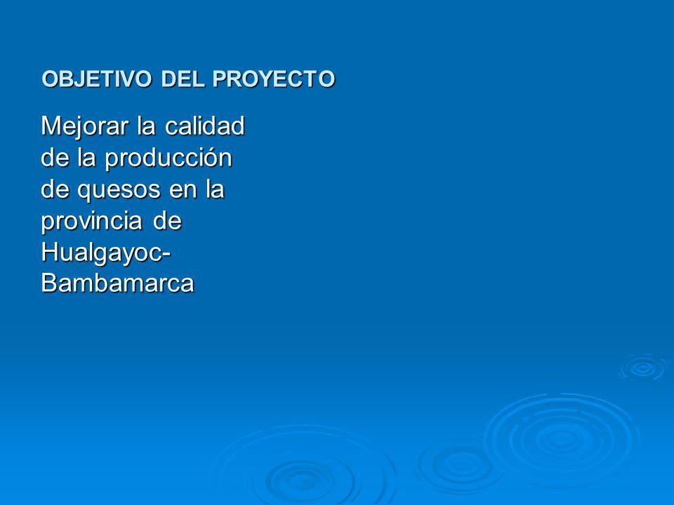 OBJETIVO DEL PROYECTO Mejorar la calidad de la producción de quesos en la provincia de Hualgayoc-Bambamarca.