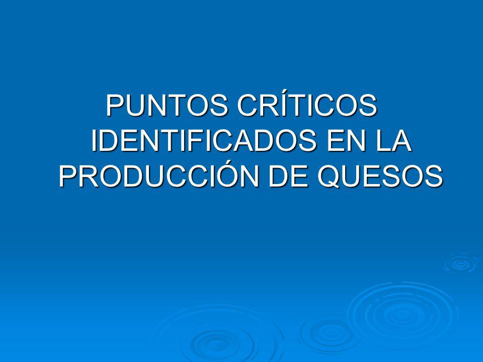 PUNTOS CRÍTICOS IDENTIFICADOS EN LA PRODUCCIÓN DE QUESOS