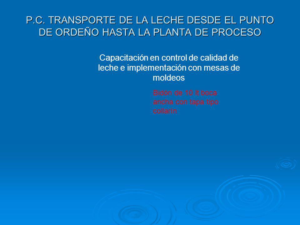 P.C. TRANSPORTE DE LA LECHE DESDE EL PUNTO DE ORDEÑO HASTA LA PLANTA DE PROCESO