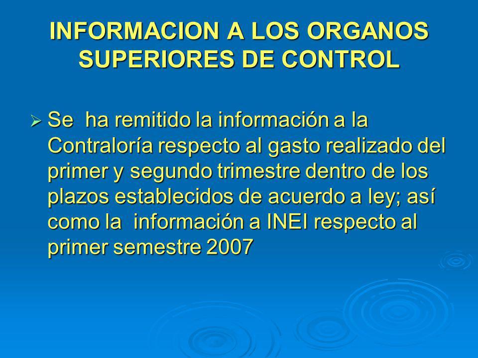 INFORMACION A LOS ORGANOS SUPERIORES DE CONTROL