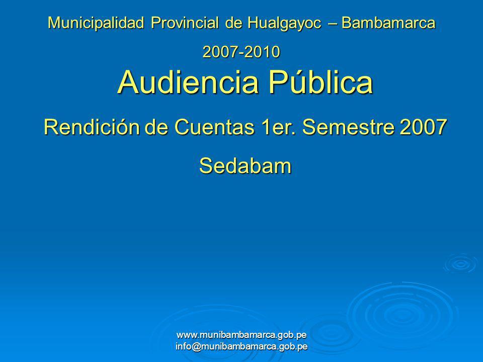 Audiencia Pública Rendición de Cuentas 1er. Semestre 2007 Sedabam