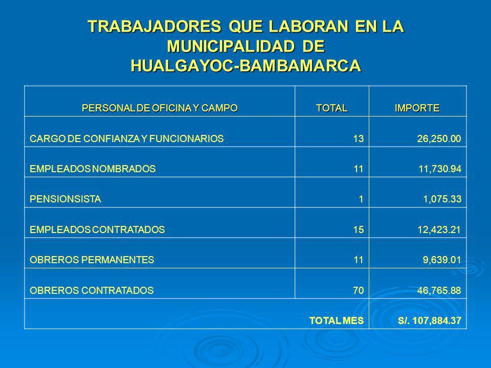 TRABAJADORES QUE LABORAN EN LA MUNICIPALIDAD DE HUALGAYOC-BAMBAMARCA