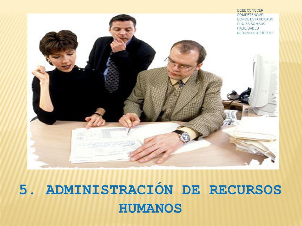 5. ADMINISTRACIÓN DE RECURSOS HUMANOS