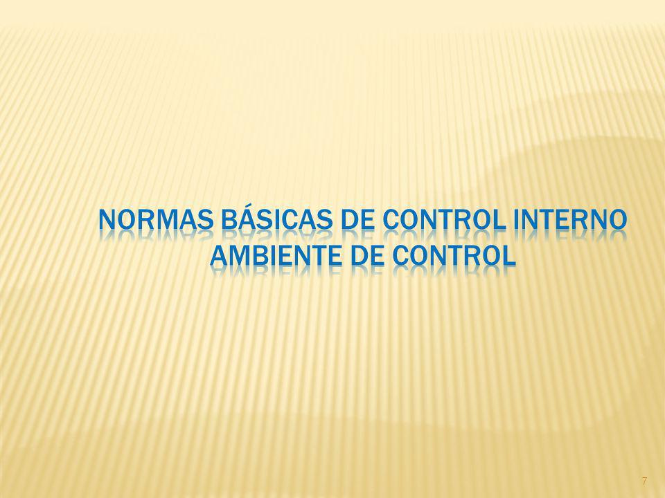NORMAS BÁSICAS DE CONTROL INTERNO AMBIENTE DE CONTROL