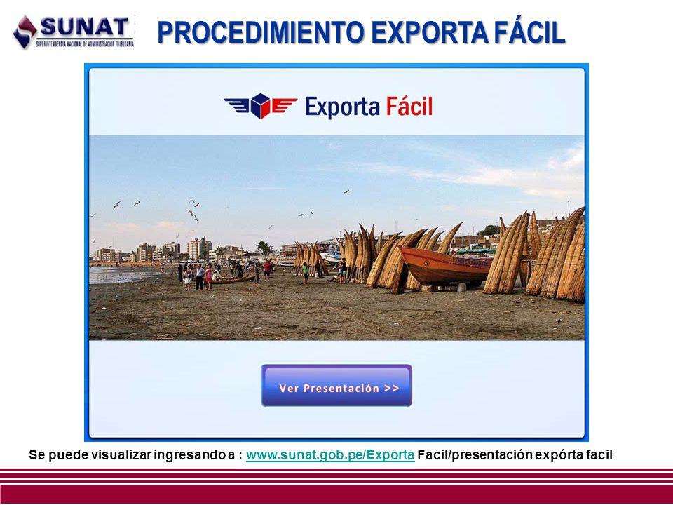 PROCEDIMIENTO EXPORTA FÁCIL