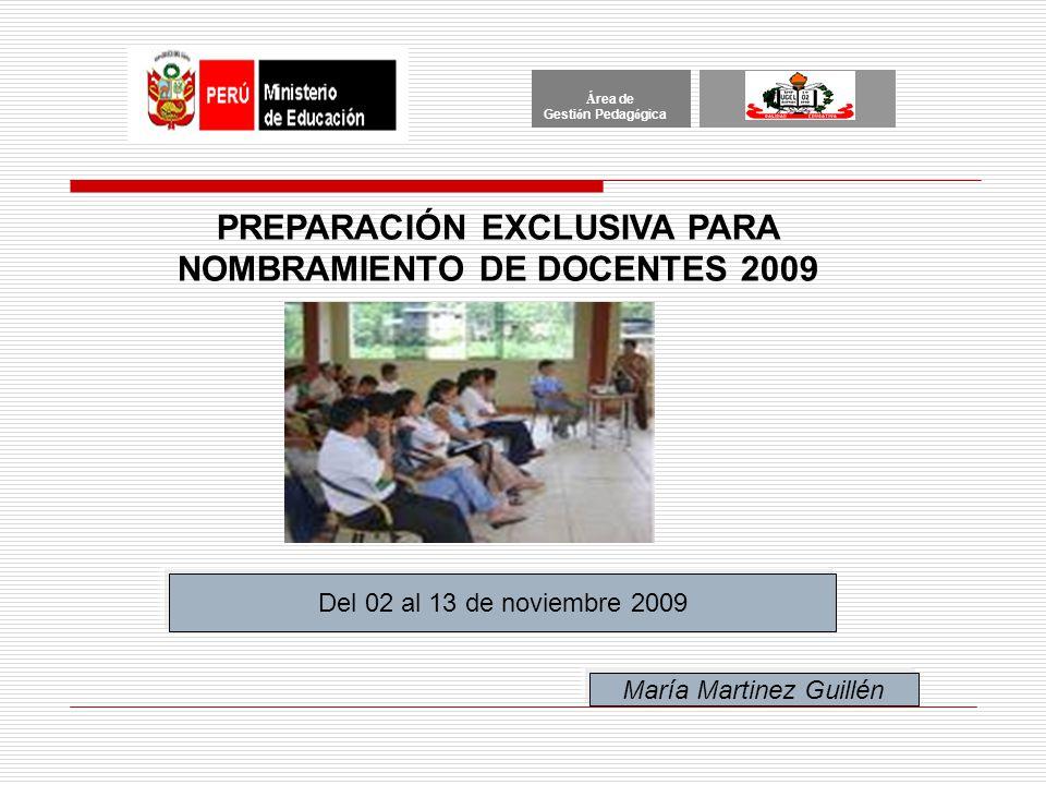 PREPARACIÓN EXCLUSIVA PARA NOMBRAMIENTO DE DOCENTES 2009