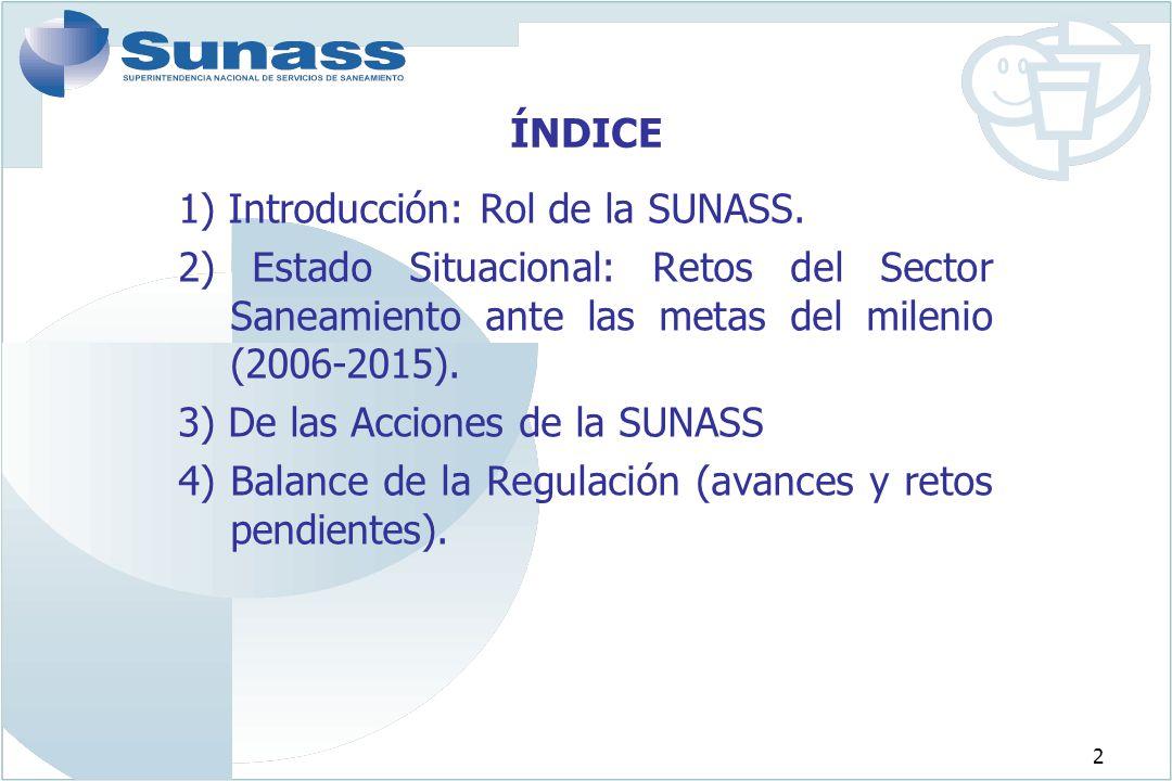 ÍNDICE 1) Introducción: Rol de la SUNASS. 2) Estado Situacional: Retos del Sector Saneamiento ante las metas del milenio (2006-2015).