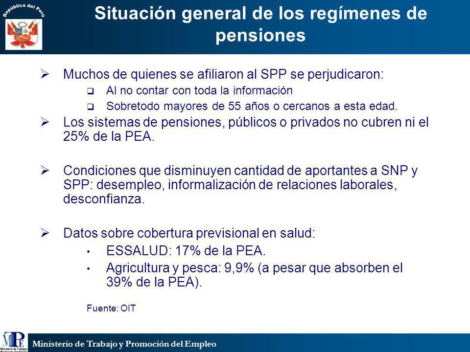 Situación general de los regímenes de pensiones