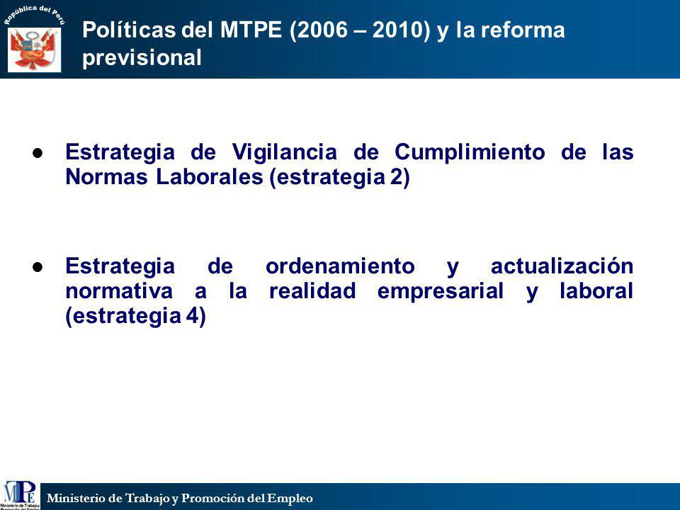 Políticas del MTPE (2006 – 2010) y la reforma previsional