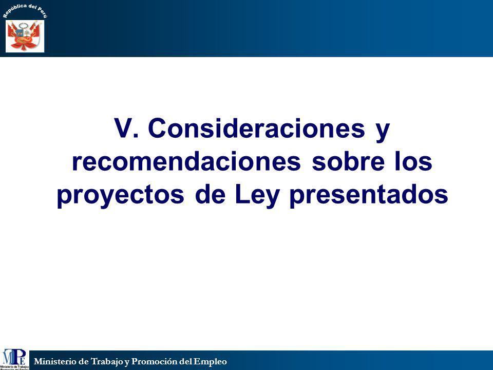 V. Consideraciones y recomendaciones sobre los proyectos de Ley presentados