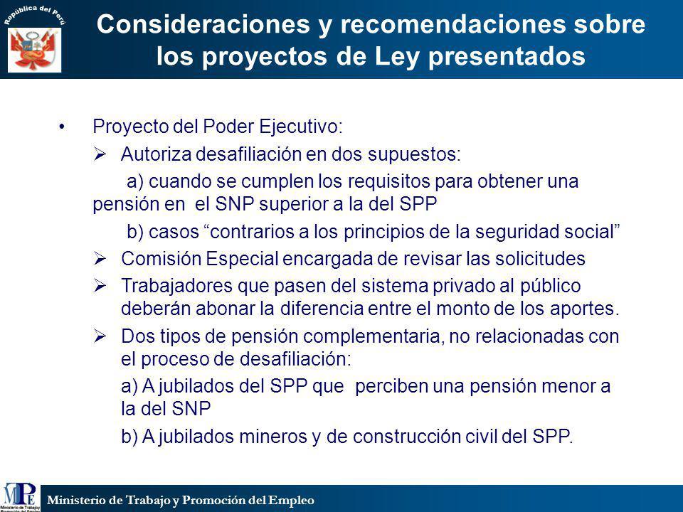 Consideraciones y recomendaciones sobre los proyectos de Ley presentados