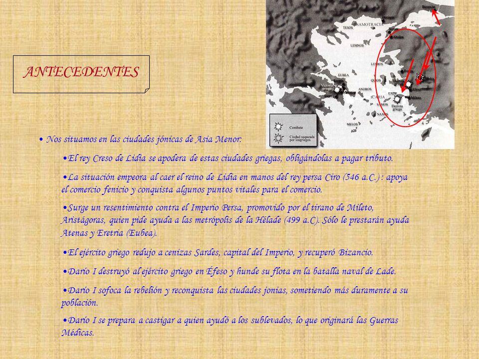 ANTECEDENTES Nos situamos en las ciudades jónicas de Asia Menor: