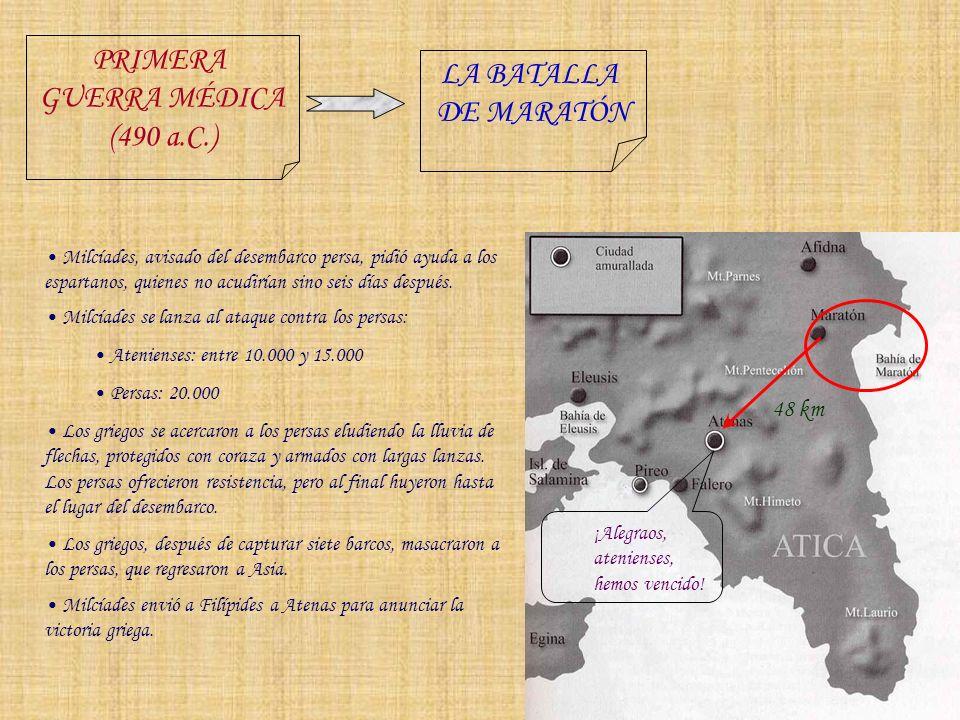 PRIMERA LA BATALLA GUERRA MÉDICA DE MARATÓN (490 a.C.) 48 km