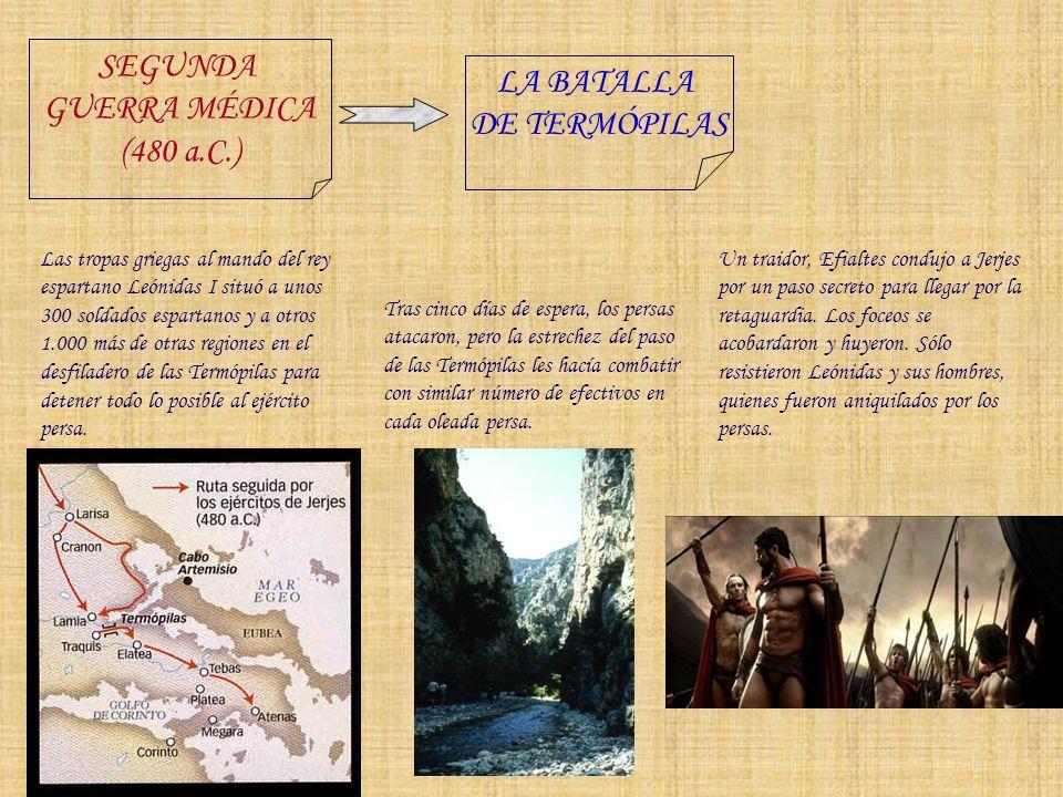 SEGUNDA LA BATALLA GUERRA MÉDICA DE TERMÓPILAS (480 a.C.)