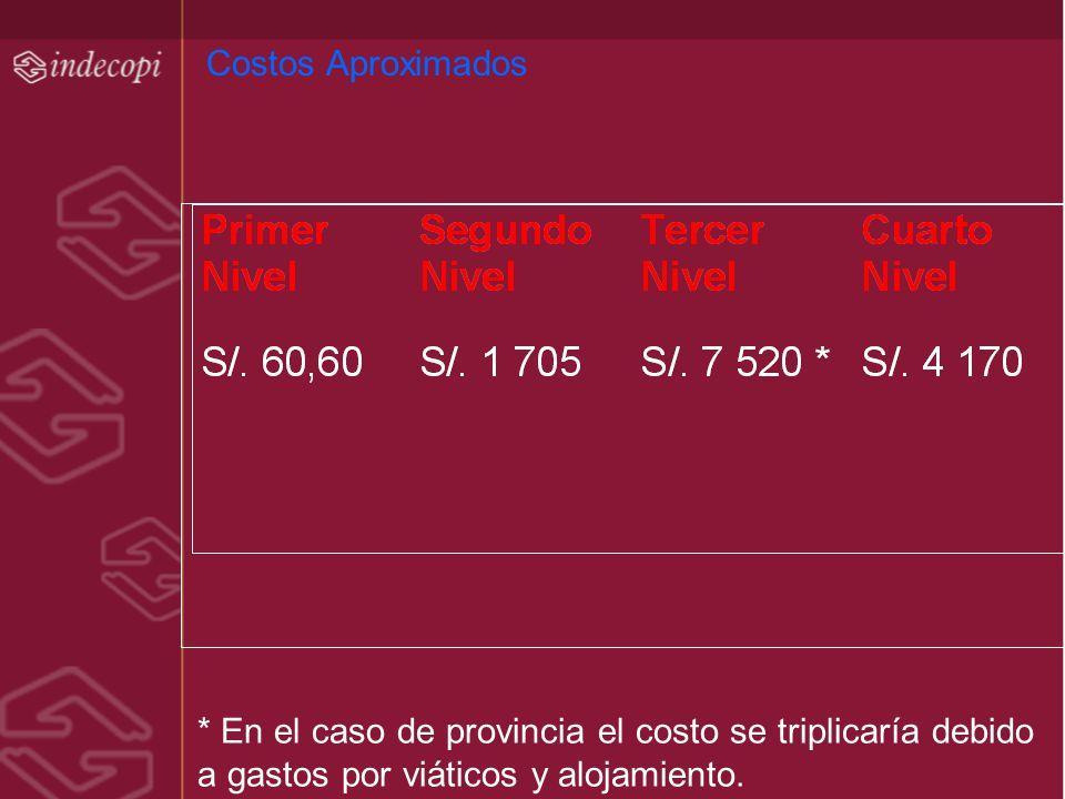 Costos Aproximados * En el caso de provincia el costo se triplicaría debido a gastos por viáticos y alojamiento.