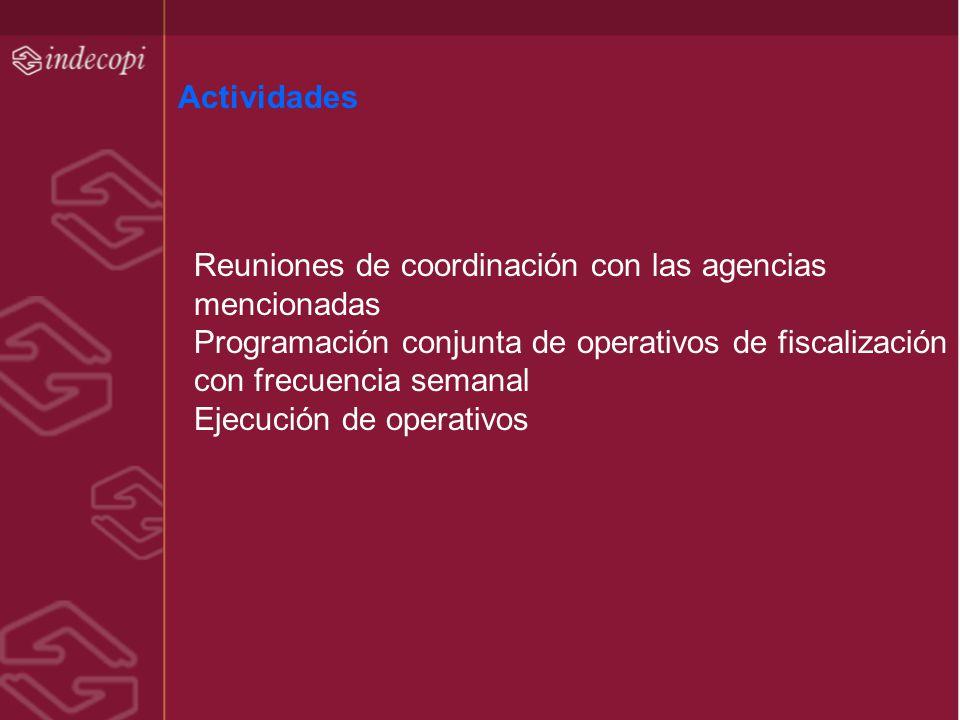 Actividades Reuniones de coordinación con las agencias mencionadas. Programación conjunta de operativos de fiscalización con frecuencia semanal.