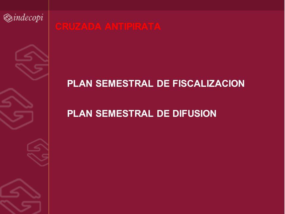 CRUZADA ANTIPIRATA PLAN SEMESTRAL DE FISCALIZACION PLAN SEMESTRAL DE DIFUSION