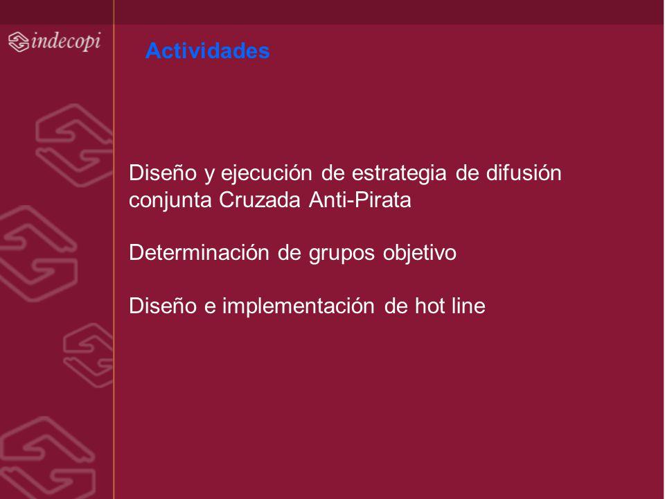 Actividades Diseño y ejecución de estrategia de difusión. conjunta Cruzada Anti-Pirata. Determinación de grupos objetivo.