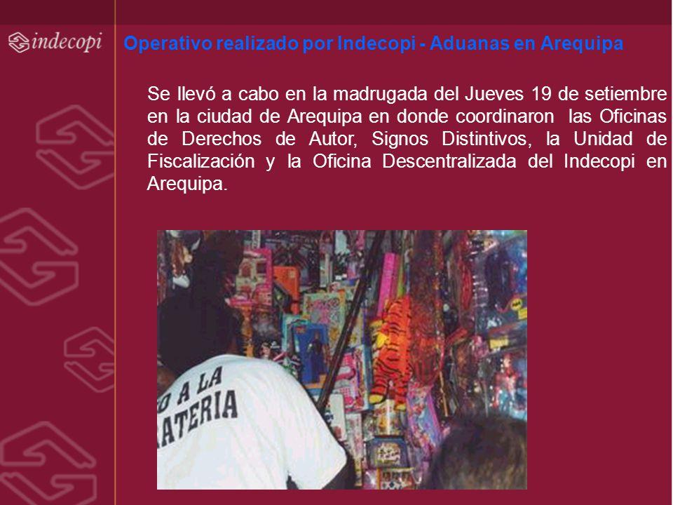 Operativo realizado por Indecopi - Aduanas en Arequipa
