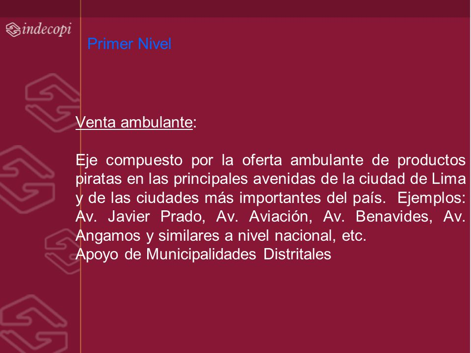 Primer Nivel Venta ambulante: