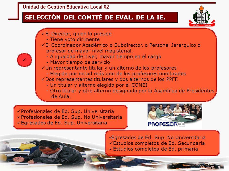 SELECCIÓN DEL COMITÉ DE EVAL. DE LA IE.