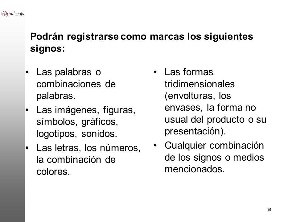 Podrán registrarse como marcas los siguientes signos: