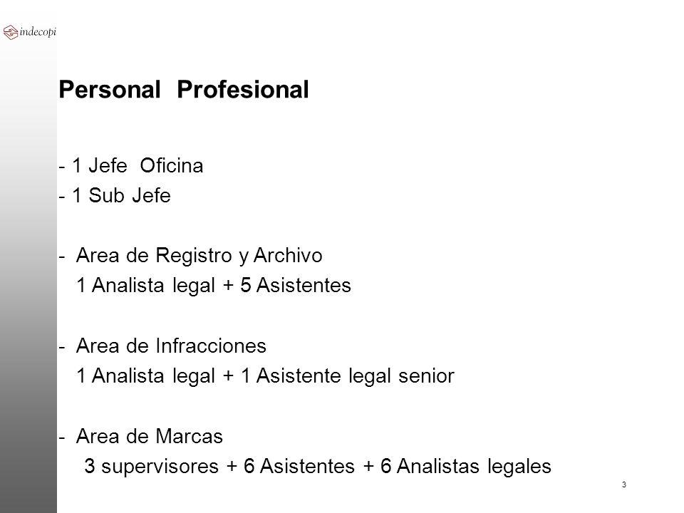 Personal Profesional - 1 Jefe Oficina - 1 Sub Jefe