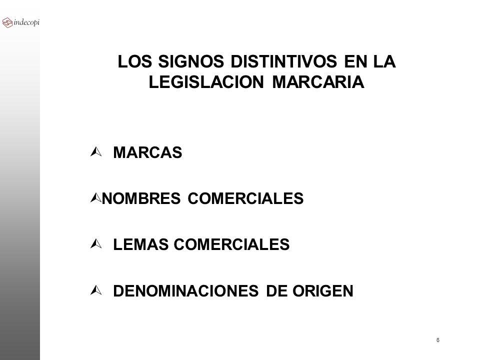 LOS SIGNOS DISTINTIVOS EN LA LEGISLACION MARCARIA