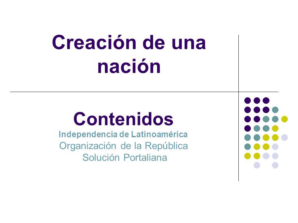 Creación de una nación Contenidos Independencia de Latinoamérica Organización de la República Solución Portaliana.