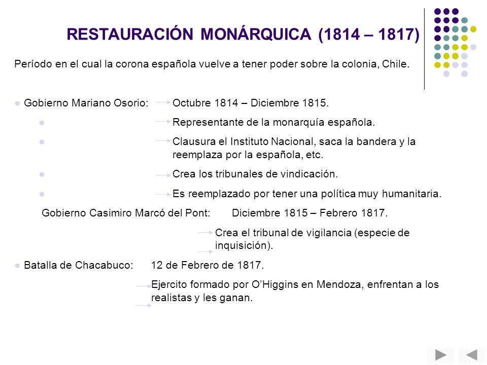 RESTAURACIÓN MONÁRQUICA (1814 – 1817)