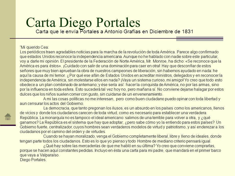 Carta que le envía Portales a Antonio Grafías en Diciembre de 1831